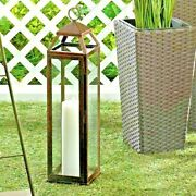 Extra Tall Clear Glass Copper Lantern Iron Frame Candle Holder 21.75 Tall