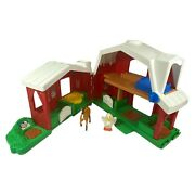 Vintage 1999 Fisher Price Little People Barn Farm House W/ Horse Chicken Folding