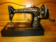 Antique Singer Sewing Machine Model 66 Red Eye Hand Crankleatherserviced