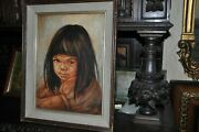 Native Young Girl Portrait Painting By American Artist G.l. Brown