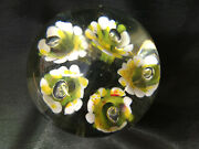 Large Clear Glass Paperweight Yellow Orchid Honey Suckle Flower Signed Leo Amon