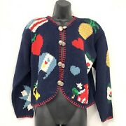 The Eagles Eye Navy Blue Cardigan Sweater Country Theme Double Silver Buttons