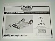 Woods Cadet 72 72-3 M72-3 Rotary Cutter Mower Operators Owners Parts Manual Oem