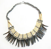 Indian - Native American Silver And Bone Bovine Bead Necklace