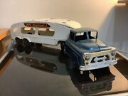 Vintage Marx Auto Transport Truck And Trailer Pressed Steel Toy Vehicle