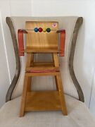 Vintage 1960andrsquos Micki Gemla Sweden Wooden Toy Doll High Chair And Desk