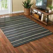 Sonata Striped Indoor Living Room Area Rug, Navy Blue And Gray, 5 X 7
