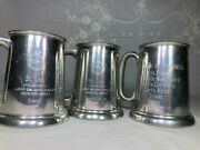 3 Vtg 50s 60s Sports Car Rally Trophy Cup Beer Mugs Automobile Club Skill 1st