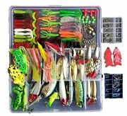 275pcs Fishing Lures Set Tackle Including Crankbaits Spinnerbaits Plastic Wor...