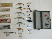 Vintage Lot Of 24 Fishing Lures And 10 Flies, Rapala, Norman, And More