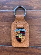 Vintage Porsche Keychain Made In England Top Grain Leather Fob Ring Key Holder