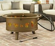 Round Antique Gold Art Deco Wood Burning Screen Steel Outdoor Fire Pit W/ Cover