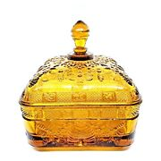 Vintage Indiana Tiara Glass Amber Honey Bee Hive Square Footed Lidded Candy Dish