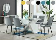 Torino Large Rectangular White And Glass Dining Table With 6 Modern Chairs