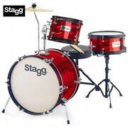 Stagg Tim-316jr 16 Retro Style Kids Drum Set - Red + Sticks Cymbals And Throne