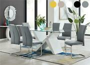 Torino Large Rectangular White And Glass Dining Table With 6 Faux Leather Chairs