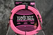 Ernie Ball 10ft Neon Pink Right Angle Braided Instrument Guitar Cable Free Shipp