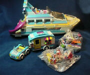 2 Lego Summer Caravan 41034 And Friends Dolphin Cruiser Boat 41015 Not Complete