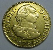1786 Madrid 1/2 Escudo Charles Iii Spain Gold Doubloon Spanish Colonial Era