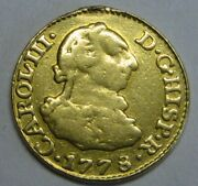 1778 Madrid 1/2 Escudo Charles Iii Spain Gold Doubloon Spanish Colonial Era