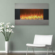 Wall Mount Electric Fireplace Stainless Steel With And Floor Stand And Remote