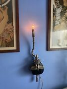 """Vintage Maitland Smith Reading Monkey Wall Accent Nightlite Lamp Sconce Rare 30"""""""