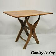 Antique French Provincial Primitive Cherry And Oak Wood X-frame Scissor Work Table
