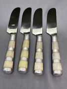 4 Art Deco Marble And Pewter Handled Cheese/butter Knives Gorgeous