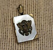 Vtg 1940s Sweetheart Wwii Us Army Mop Gold Filled Book Locket Pendant Photos L1