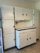 Sellers Step-back Kitchen Cabinet Ensemble Hoosier Indiana With Side Pantry Cabi