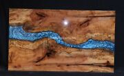 Dining Epoxy Table Blue Resin Acacia Handmade Collectible Interior Furniture Top