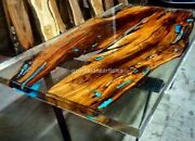 Clear Resin Epoxy Dining Table Top Acacia Woodworking Furniture Dining Room Dandeacuteco
