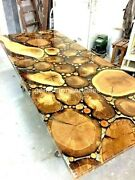 Wooden Acacia Handmade Dining Top Table Clear Resin Interior Luxury Home Dandeacutecors