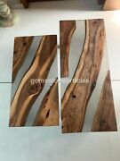 Clear Resin River Dining Custom Solid Acacia Woodworking Table Tops Design Tops