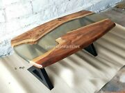 Clear Resin Sofa Antique Designer Table Top Natural Solid Wood Interior Décor