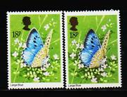Gb Uk 18p Butterfly Stamp Error Queen Golden Head Shifted Mint Nh Stamps Rare