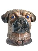 Outstanding Wood Carving Figural Tobacco Humidor German Boxer Dog C. 1930