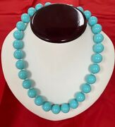 Vintage Turquoise Beads Round 14mm Necklace With The Screw In Cluster L Crystal