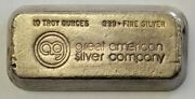 Great American Silver Company 10 Troy Ounce .999 Silver Bar Extremely Rare