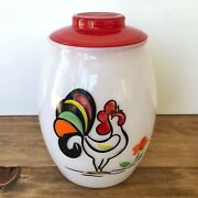 Bartlett-collins Vintage Hand Painted Crowing Rooster Cookie Jar Glass Canister