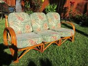 Vintage Rattan Couch Love Seat 3 Piece Sectional Hawaii Mid Century Exc Cond
