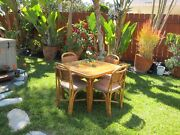 Vintage Rattan Dining Table And 4 Chairs Mid Century Hawaii Furniture Exc Cond