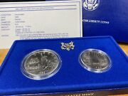 1986 Proof Statue Of Liberty 2 Coin Silver Dollar And Clad Half Us Mint Set. P-d