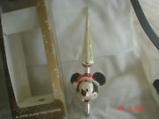 Boxed Mickey Mouse Blown Glass Tree Topper Disney Parks Authentic Original 13