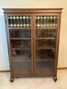Antique Larkin Arts And Crafts Quartersawn Oak Leaded Stained Glass Bookcase