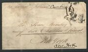 Uk 1849 Cover Via Liverpool On Steamer Cambria To Ny Maltese Cross Backstamp Ls