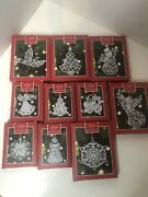 Lenox Sparkle And Scroll Multi Crystal Christmas Ornament, Silverplate Lot 10