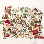 Vintage Christmas Brooch Pin Lot 60+ Pieces Holiday Craft Hobby Jewelry