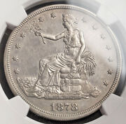 1878-s, United States Of America. Large Silver Trade Dollar Coin. Ngc Au+