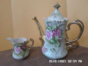 R S Prussia Coffee Or Tea Pot And Creamer With Gold Handles